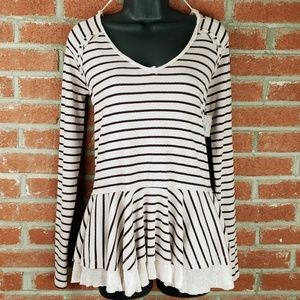 Free People Striped Oversized Long Sleeve Peplum
